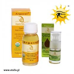 Zestaw - Bio Olej arganowy kosmetyczny 100% – 60 ml i olejek z pestek opuncji figowej- opakowanie szklane z dozownikiem 15 ml