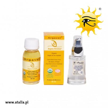 Zestaw - Bio Olej arganowy kosmetyczny 100% – 60 ml i Olejek z białej róży - 30 ml