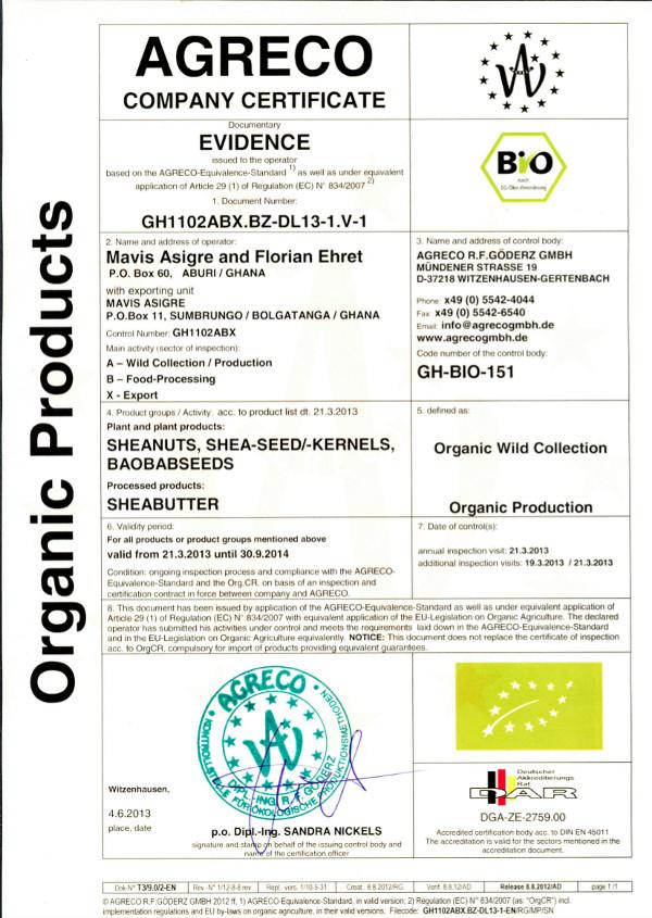 Certyfikat AGRECO dla masła Shea