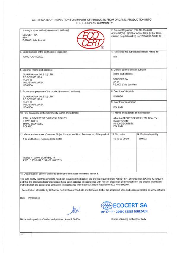 Certyfikat EcoCert dla masła Shea